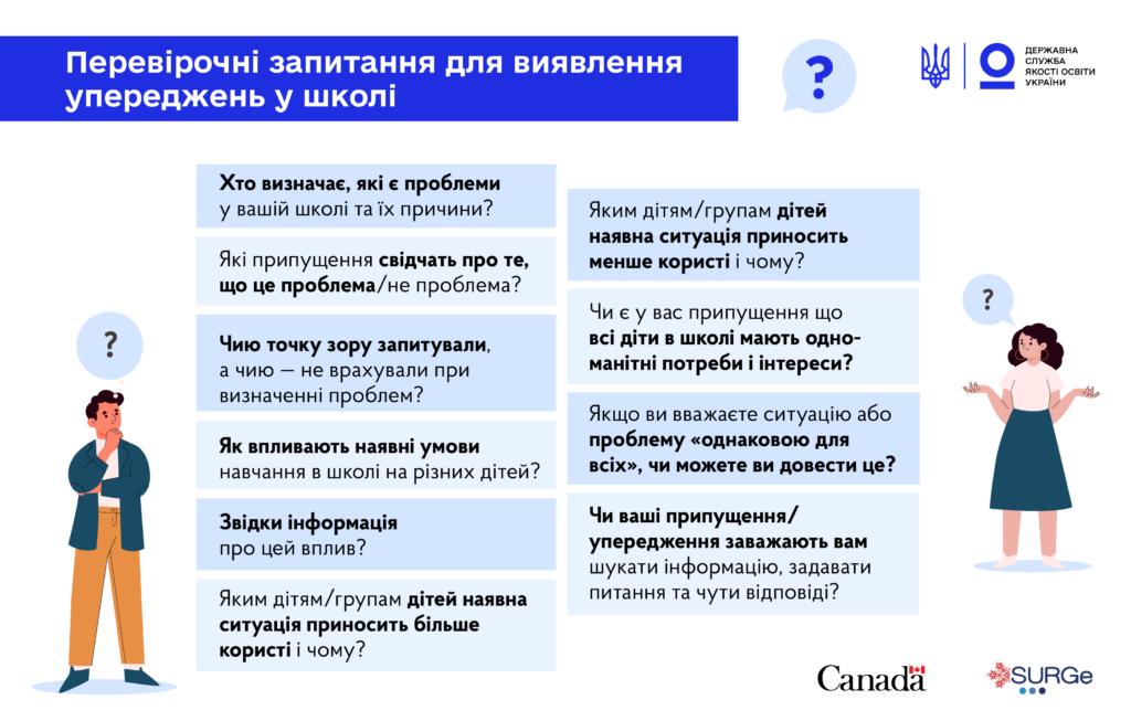Перевірочні запитання для виявлення упереджень у школі